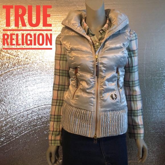 True Religion Jackets & Blazers - True Religion Hoodie Puffer Statement Vest